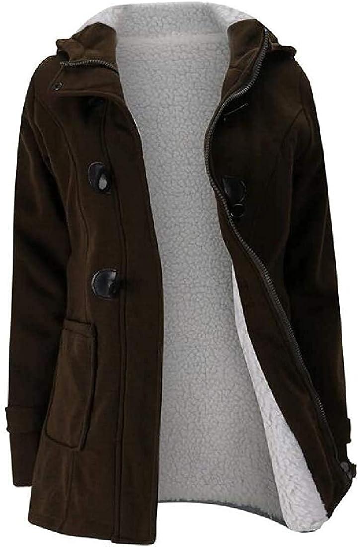 Women Sherpa-Lined Hoodie Quilted-Jacket Winter Wool-Blend Pea Coat Outwear