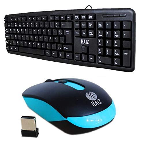 Kit Hz14 Teclado Usb E Mouse Sem Fio Home Office Escritorio