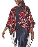 Laura Scott Poncho de Flecos para Damas con Flores Forma de Kimono, tamaño:36/38