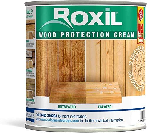 Roxil Holzschutzcreme - 10+ Jahre Witterungsschutz und Hydrophobierung für Weichholz - Einfacher Holzzaun Schutz (1 Liter)