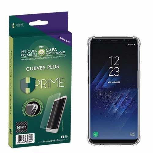 Kit Pelicula Curves Pro + Capa Transparente TPU para Samsung Galaxy S8, HPrime, Película Protetora de Tela para Celular, Transparente