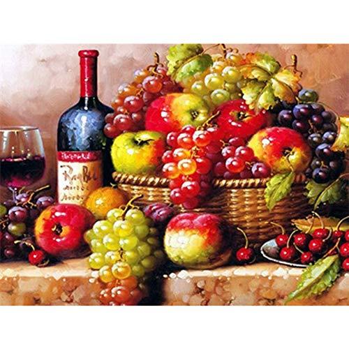 NuoNi DIY 5D diamante pintura cocina decoración fruta uva paisaje mosaico bordado punto de cruz cuadrado completo/paisaje de taladro redondo