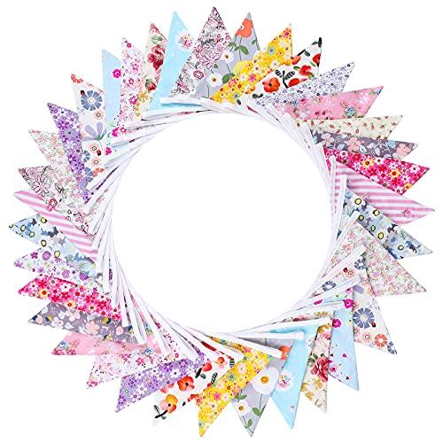 Aneco Banderines de tela de algodón triángulo bandera guirnalda de ducha bandera vintage banderines para fiestas, bodas y decoración de la casa, multicolor