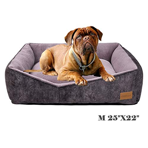 Coohom Rectangle Washable Dog Bed,Warming Comfortable Square Pet Bed Simple Design Style,Durable Dog Crate Bed for Medium Large Dogs (25 INCH, Black) Beds