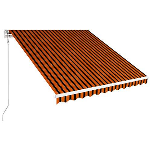 Tidyard Toldo para Bar Toldo Terraza Toldos Impermeables Exterior, Toldo retráctil automático Naranja y marrón 350x250 cm