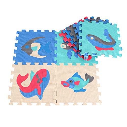 Puzzlematte 9 tlg. Kinderspielteppich Spielmatte Spielteppich Schaumstoffmatte Matte - Ozean-B