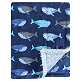 Luvable Friends Unisex Baby Plush Blanket with Sherpa Back, Whale, One Size