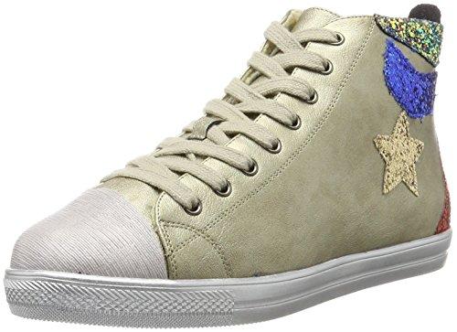 Laufsteg München Damen HW170701 Hohe Sneaker, Gold Gold, 37 EU