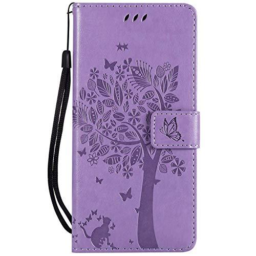 Hancda Hülle für Sony Xperia L3, Schutzhülle Leder Handytasche Flip Hülle Handyhüllen Lederhülle Tasche Dünn Silikon Hülle Magnet Cover für Sony Xperia L3,Hülle Lila