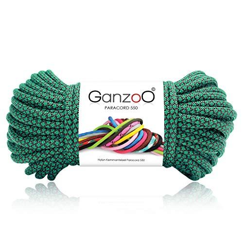 Paracord 550 Seil Diamond für Armband, Leine, Halsband, 100% Nylon-Seil 30 Meter, Farbe: smaragdgrün-schwarz