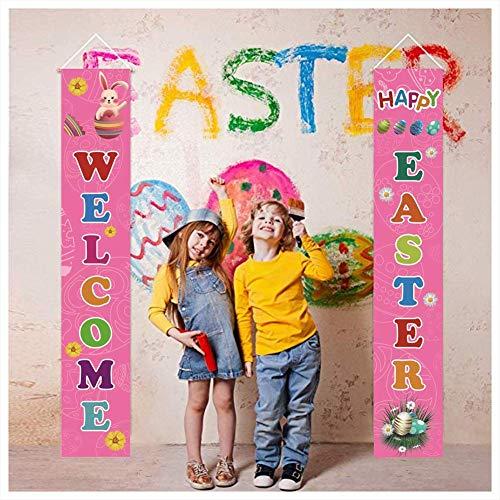 AIYANG, benvenuto pasquale per veranda, veranda, spilla pasquale, primavera, benvenuto, couplet, Pasqua, interni, esterni, striscione per casa, porta di Pasqua, decorazione per feste, Colore: rosa.