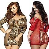 LOVELYBOBO 2 Pack Damen Lingerie Reizvoll Babydoll Negligee Fishnet Hollow Out Minikleid Dress Club Nachtwäsche Dessous Erotik Übergröße (schwarz+rot)