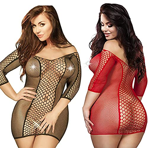 2 Pack Talla Extra Mujer Talla Extra Lencería Ropa Vestidos de camisón de Encaje de Manga Larga Bare Inferior (Negro+Rojo)