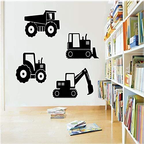 Equipo de construcción grúa feliz pegatina de dibujos animados vehículo de construcción camión pared de vinilo
