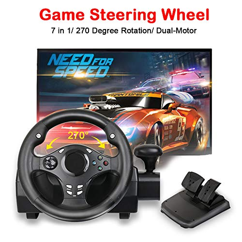 MOSTOP Game Steering Wheel Dual-Motor Sport Racing Wheel 270 Degree Rotation with Pedals Gear for PS3/PS4/XBOX ONE/XBOX 360/NS SWITCH/PC/Android