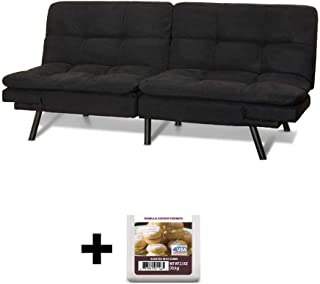 Upholstered Memory Foam Futon, Black Suede + Free Vanilla Cookie Crunch Scented Wax Melts