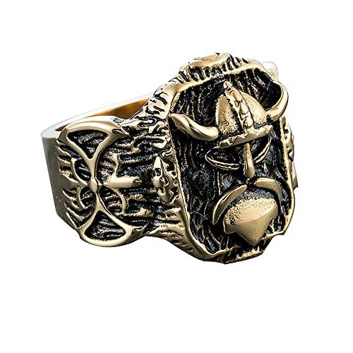 GXL&YZQ Anillos para Hombres Pirate Vikings Alianza De Boda De Acero Inoxidable Anillo De Motorista Hecho A Mano Sello Pulido Retro Exquisita Joyería para Mujeres Niños Niñas, B,12