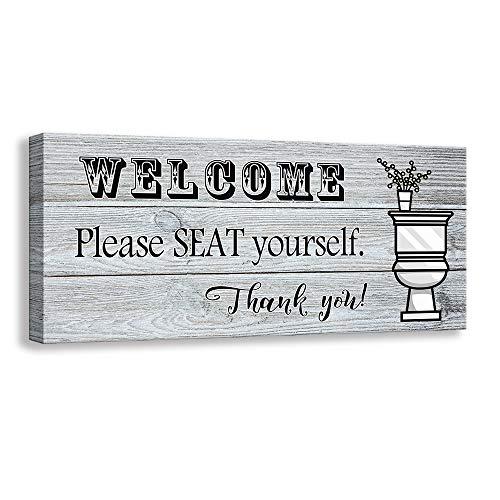 Kas Home Divertente Stampa Vintage su Tela da Bagno Rustica con Scritta in Lingua Inglese Welcome (Lingua Italiana Non Garantita) 6 x 12 inch Welcome - 02