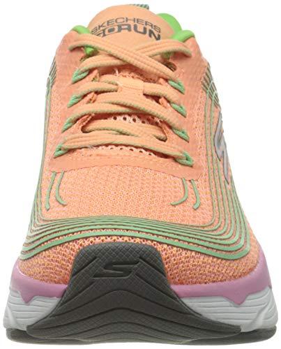 Skechers MAX Cushioning Elite, Zapatillas para Mujer, Naranja (Orange Textile/Lime Trim ORLM), 35.5 EU