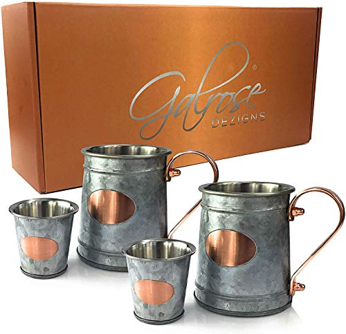 GALROSE Stainless Steel Beer Steins - Double Wall Galvanized Iron with Rose Gold Accents - Unique Mugs with Shot Glasses for Home Bar and Entertaining