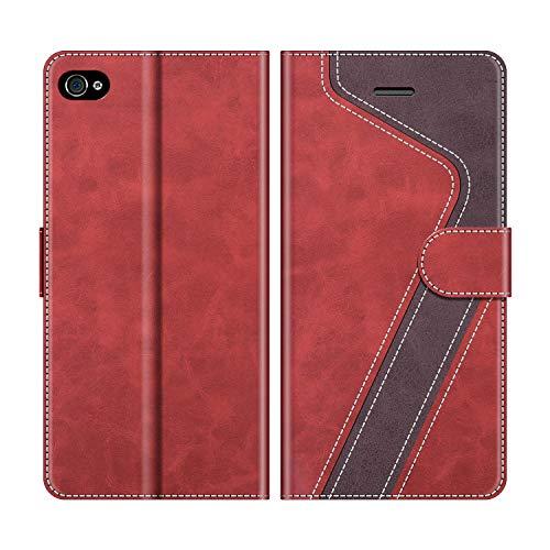 MOBESV Handyhülle für iPhone 4S Hülle Leder, iPhone 4S Klapphülle Handytasche Case für iPhone 4S / iPhone 4 Handy Hüllen, Rot
