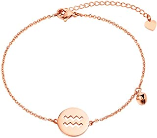CXQ Personality Fashion Temperament Anklet Hollow Aquarius Rose Gold Foot Ring Jewelry