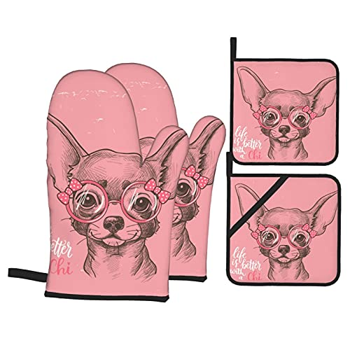 Girl Chihuahua Oven Mitts and Pot Holders Sets Kitchen Gloves Heat Resistant Non-Slip Hot Pads for Dining BBQ Cooking 4 Pcs Set