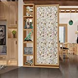 wonderr No Glue 3D Electrostatic Glass Film for Doors and Window, Modern Coffee Time Vintage Espresso Machine Cupcakes Beans C, Privacy Glass Film for Home &Office, W35.4xH78.7 Inch