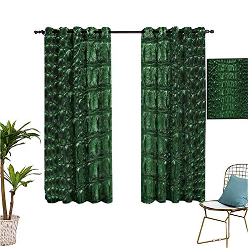 Animal Print Collection best home fashion thermal insulated blackout curtains Crocodile Bone Skin Pattern Dangerous Animals Luxury Lifestyle Illustration Large living room large room blackout thermal