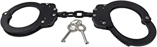 Yoghourds Chain Link Handcuffs Black, Adjustable Double Lock Police Edition Cuffs