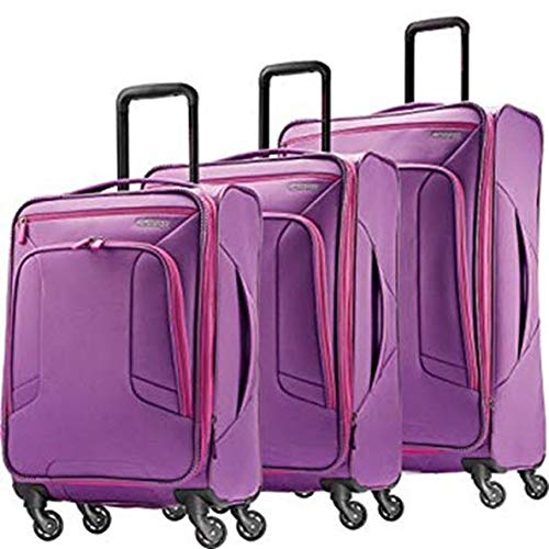 American Tourister 4 Kix Expandable Softside Luggage with Spinner Wheels, Purple/Pink, 3-Piece Set (21/25/28)