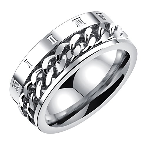 ALEXTINA Men's 8MM Stainless Steel Spinner Chain Ring Roman Number Band Silver Size P 1/2