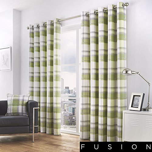 Fusion - Balmoral Check - 100% Cotton Ready Made Pair of Eyelet Curtains - 66' Width x 90' Drop (168 x 229cm) in Green