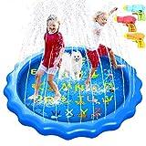 Splash Pad 170CM Aspersor de Juegos de Agua para Niños, PVC Splash pad...