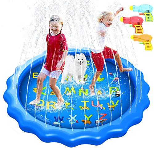 Splash Pad 170CM Aspersor de Juegos de Agua para Niños, PVC Splash pad Almohadilla de Aspersión Juego de Agua Alfombra Juegos Piscina Niño Jardín de Verano Juguetes Acuático Actividades Familiares