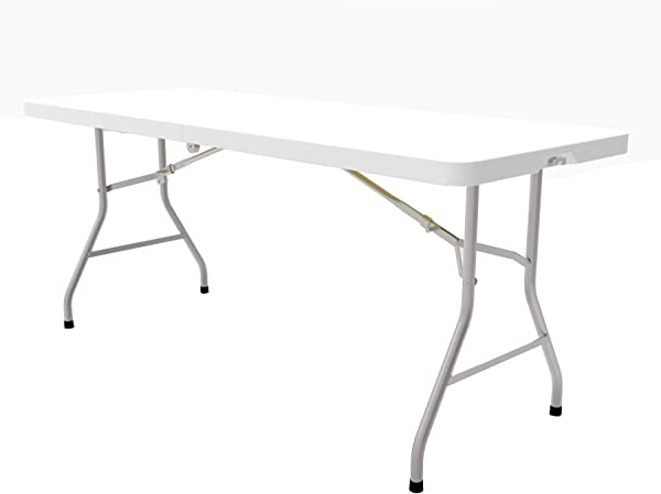 8 Foot Plastic Folding Table Folds In Half With Carrying Handle Rectangular Lightweight And Portable White Resin With Sturdy Steel Frame 30 X 96 By Ontario Furniture