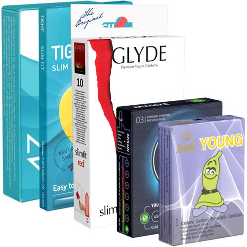Der Kondomotheke® Special Tight Pack - 5 Schachteln engere Kondome (Amor, Glyde, My.Size, RFSU, Ritex)