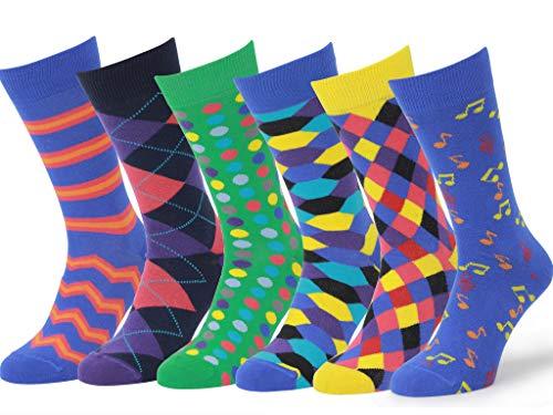 Easton Marlowe 6 Paar Bunt Gemusterte Herren Socken - 6pk 1, gemischt - helle Farben, 43-46 EU Schuhgröße
