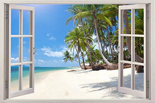 Wandaufkleber Window 3d Frame Full Colour Sunrise Wall Sticker Art Self Adhesive Poster Print