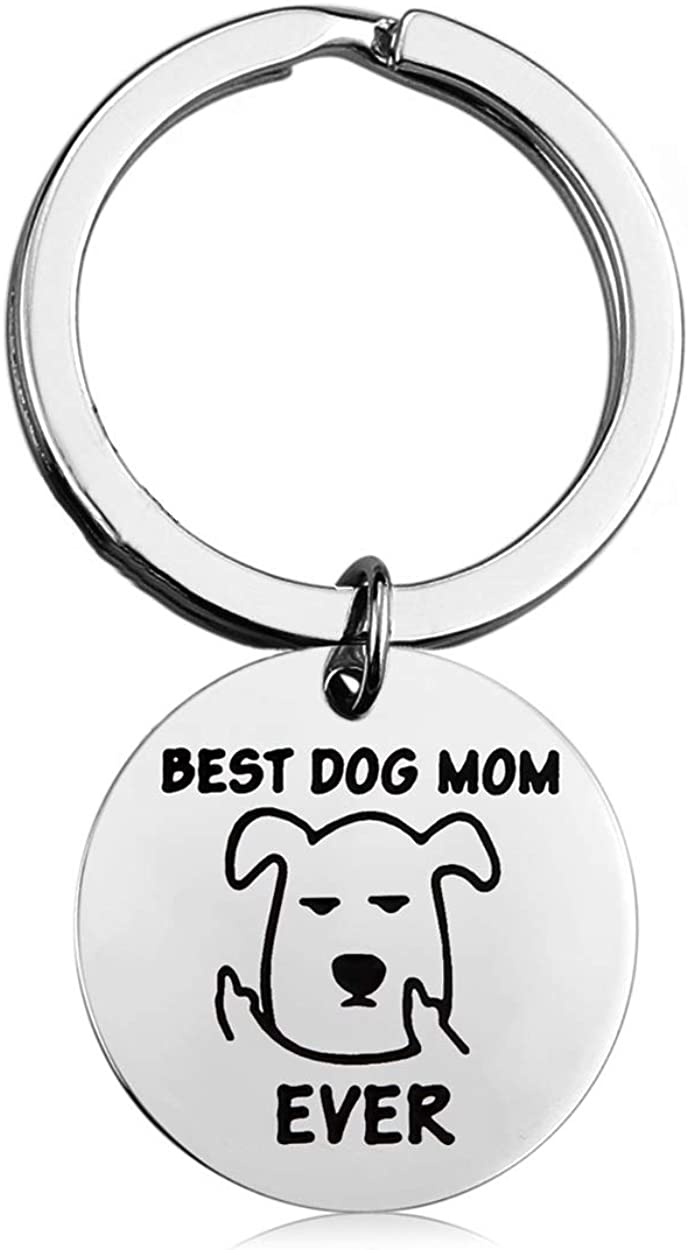 KUIYAI Best Dog Mom Dad Ever Keychain Middle Finger Key Ring Dog Lover Gifts