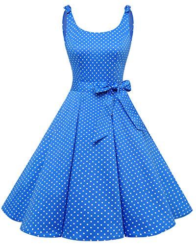 Bbonlinedress 1950er Vintage Polka Dots Pinup Retro Rockabilly Kleid Cocktailkleider Dark Blue White Dot-1 L