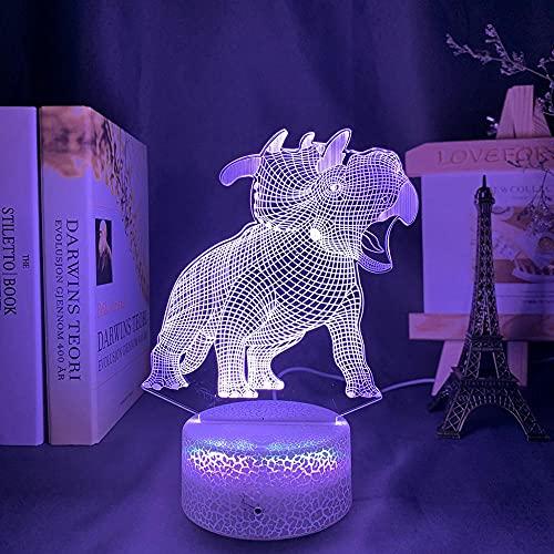 3D Animal Led Luz de noche Lámpara de ilusión de cabecera Dibujos animados Triceratops Roar Kawaii Dinosaur Cute Kids Acrílico Cambio de color-Lava Base_7 colore no remoto