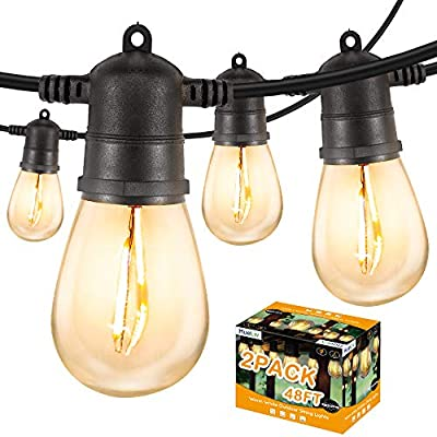 HueLiv 2 Pack 48FT Outdoor String Lights, WarmWhite LED Patio Lights, 34 Bulbs, Commercial-Grade ETL Approved Waterproof Decorative Lights, Bistro Backyard Cafe, Outdoor/Indoor, 1W, 96FT, Christmas