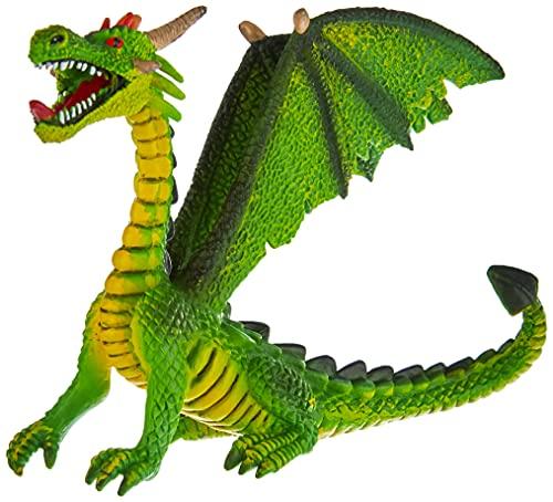 Bullyland 75593 - Spielfigur, Drache sitzend grün, ca. 12 cm, ideal als Torten-Figur, detailgetreu, PVC-frei, tolles Geschenk für Kinder zum fantasievollen Spielen