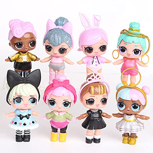 """8PCS Dolls Cake Toppers, Toy Set Decoration Figures for BirthdayParty, Surprised Dolls Cake Topper 3"""""""