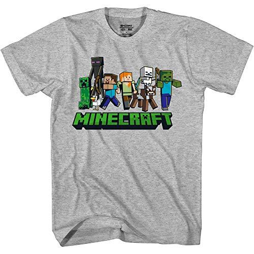 Minecraft Camiseta de la tripulación de la línea - gris - X-Large