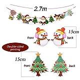 SERWOO 6 Stück Weihnachten Girlande Banner Wimpelkette Papier Girlande Weihnachtsgirlande Merry Christmas Girlande Weihnachtsmann Schneemann Weihnachten Deko (2.7M / Jede Girlande) - 4