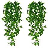4 Stück künstliche Wandbehang Pflanzen künstliche Efeu gefälschte hängende nachlaufende Weinpflanzen Dekor Kunststoff Grün