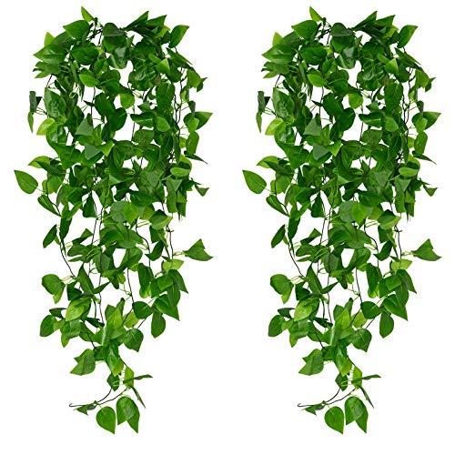 4 piezas de plantas artificiales para colgar en la pared, hiedra artificial, colgante falso, plantas de vid que se arrastran, decoración, vegetación de plástico