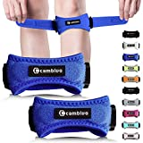 CAMBIVO Patella Knee Strap, 2 Pack Knee Brace, Adjustable Patellar Tendon Support Band for Running, Hiking, Volleyball, Jumpers Knee, Tendonitis, Arthritis and Injury Recovery (Blue)